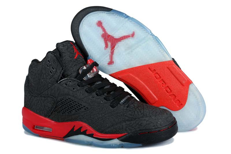 pretty nice 9baf2 4e48b Air Jordan 5 Retro Homme Basket Noir Rouge